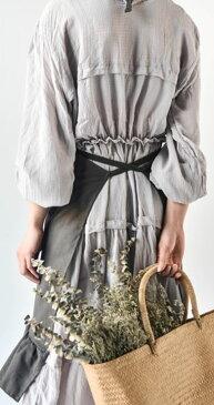 エプロン ジャンパースカート風 変形 裾フリル ナチュラル (アイボリー) 【送料無料】