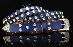 ベルト ダイヤ風装飾 なみなみカット 2段風 レザー (ブルー)