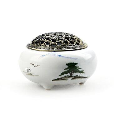 香炉 山水画風 自然の風景 陶器製 蓋 お香立て付き