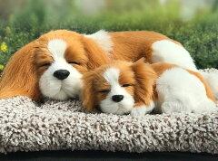 置物 マットの上で眠るリアルな犬の親子 ワンちゃん ふわふわ (キャバリア)[モノッコ]