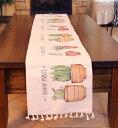 テーブルランナー ナチュラルカントリー風 サボテン 植木鉢 小さなフリンジ付き (Aタイプ) 【送料無料】