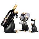 ワインボトルホルダー グラスホルダー 北欧風オブジェ 仲良し鹿の親子 3個セット (ブラック)