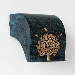トイレットペーパーホルダー 大きな木と鳥 立体的な装飾 スタイリッシュ (ネイビー)