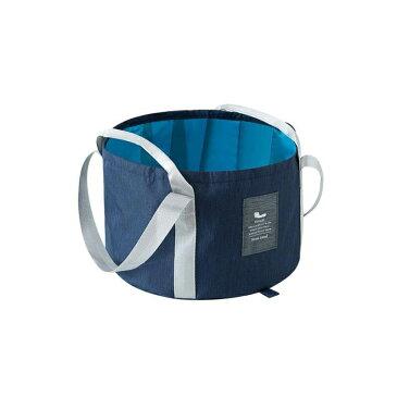 折り畳みバケツ 防水バッグ 布製 コンパクト おしゃれなデザイン 持ち手 収納袋付き (ネイビー)