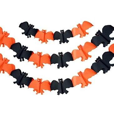 パーティーフラッグ ハロウィン コウモリ ブラック オレンジ 3m 3個セット 【送料無料】