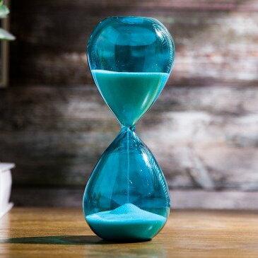 【訳あり】砂時計 30分計 色付きガラス 枠なし (ブルー)