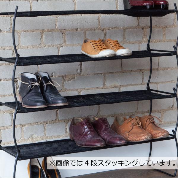 シューズラック スリム おしゃれ 2段 薄型 省スペース くつ 収納 一時置きに シンプル 靴置き 玄関収納 靴箱 下駄箱 追加用に スチール 黒 ブラック( umbra イメルダ シューラックス 2pcs アンブラ )