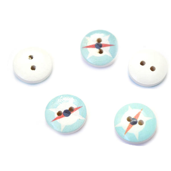 BT-824-羅針盤A【ウッドボタン】【15mm】【羅針盤A】マリンテイストのウッドボタン【1個】コンパス/手芸/ヨット/キッズ/海/シャツ/ベビー/夏