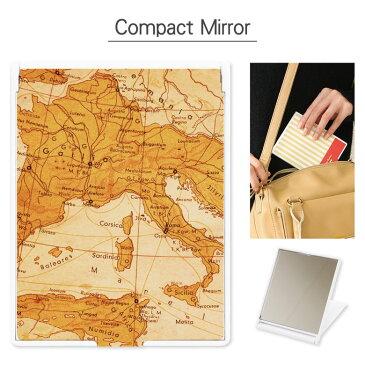 コンパクトミラー Map 折り畳み式   鏡 かがみ ミラー コンパクト 小さい 軽い 軽量 コスメ 化粧 雑貨 スタンド おしゃれ かわいい 地図 マップ レトロ