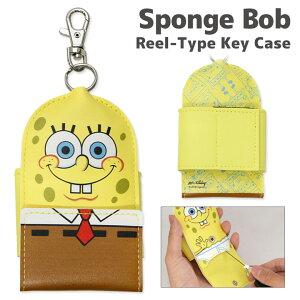 スポンジ・ボブ リール式キーケース ベルト付き SpongeBob スポンジボブ イエロー 黄色 キャラクター ポップ バッグやランドセルに取り付け可能 メンズ レディース キッズ 便利 雑貨 キーホルダー