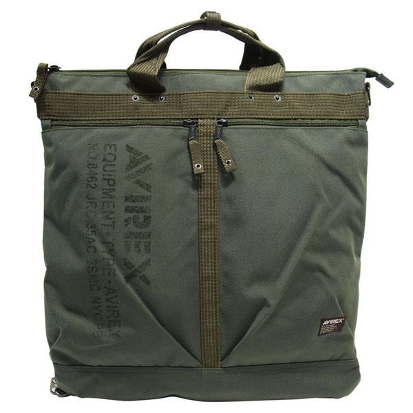 【全商品ポイント10倍】 AVIREX アビレックス 2way ヘルメットバッグ トートバッグ リュックサック カーキ (AVX3517-KH)
