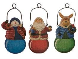クリスマスソーラーLEDライト3個セット屋外用サンタクローススノーマントナカイ雪だるまクリスマスオブジェイルミネーションクリスマスデコレーションコストコCostco屋外・屋内用店舗お店テナントお庭玄関