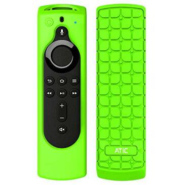 リモコンカバー ATiC 5.6インチ 新登場 Fire TV Stick 4K Fire TV Cube Fire TV 第三世代専用リモコンカバー シリコン製 耐衝撃 防水防塵 第2世代Alexa対応音声認識リモコン用保護カバー Fluorescent Green