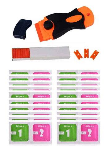 プラスチック製スクレーパーセット(本体/替え刃/クリーナー)ラベルステッカーシールはがしクリーニング【送料無料】tak-b15