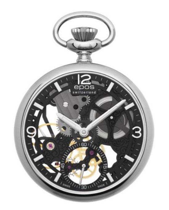 ウオッチ・トラベルケース プレゼント【正規品】 懐中時計 エポス EPOSPocket Watch2003SKBK 両面スケルトン