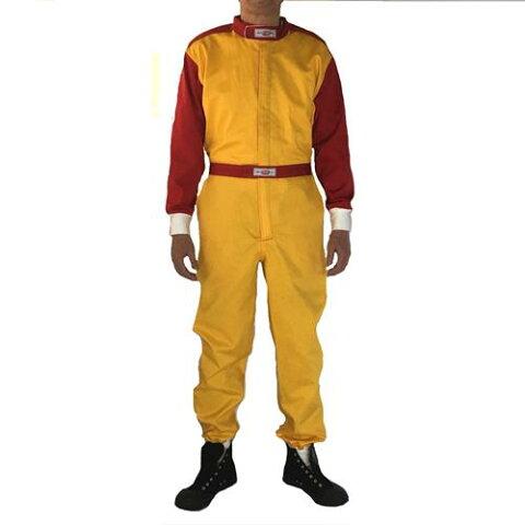 【送料無料】【SALE/限定カラー】レーシングスーツ風ツナギ【ツートン きいろ/赤色】