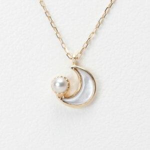 【Moon Label】予算3万以内で選ぶ 6月誕生石パール真珠ネックレス・ペンダント Baby Moon マザーオブパールペンダント(K10)