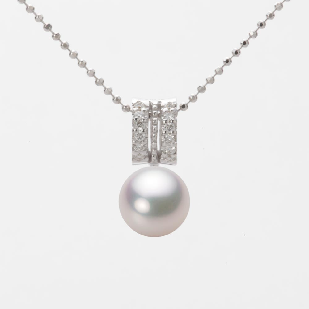 あこや真珠 パール ネックレス 8.0mm アコヤ 真珠 ペンダント K18WG ホワイトゴールド レディース HA00080R12WPG1278W