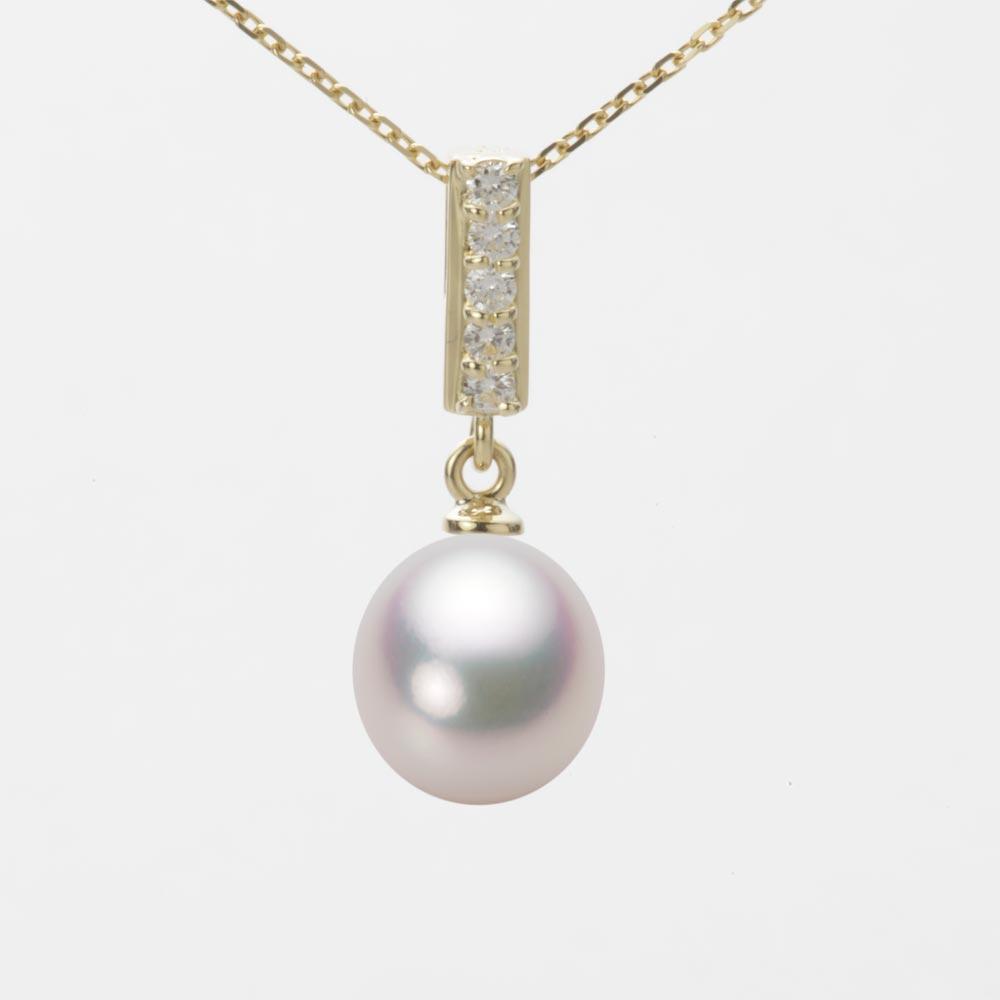 あこや真珠 パール ネックレス 8.5mm アコヤ 真珠 ペンダント K18 イエローゴールド レディース HA00085D11WPG314Y0