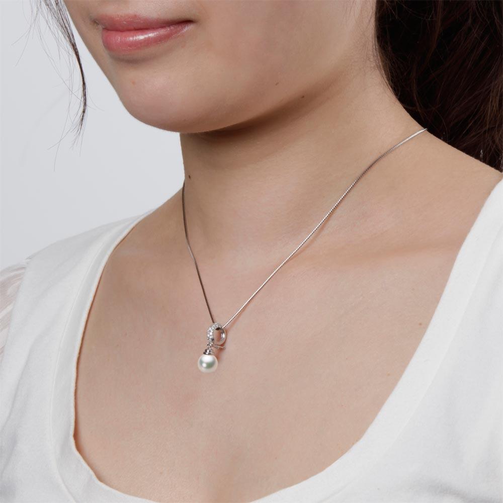 あこや真珠 パール ペンダント トップ 8.5mm アコヤ 真珠 ペンダント トップ K18WG ホワイトゴールド レディース HA00085R11CW0115W0-T