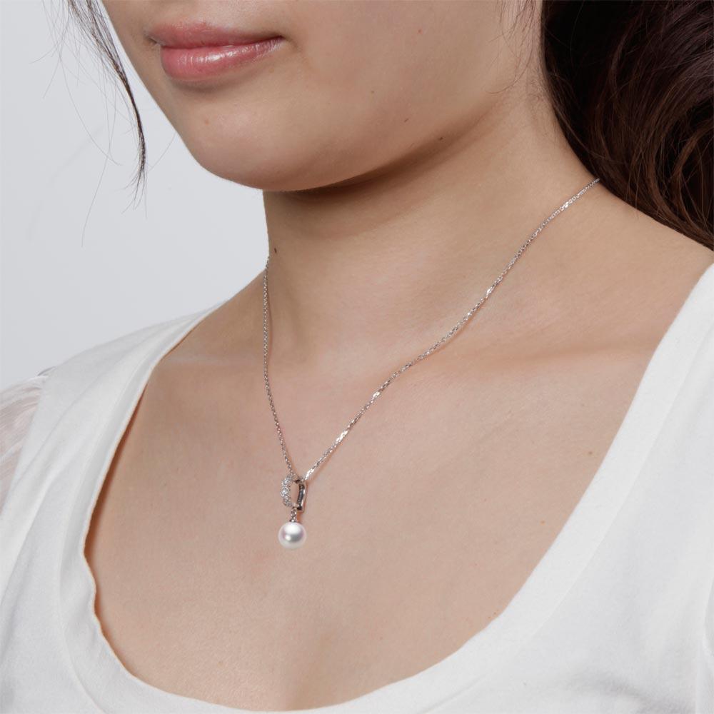あこや真珠 パール ペンダント トップ 8.5mm アコヤ 真珠 ペンダント トップ K18WG ホワイトゴールド レディース HA00085R11WPN290W0-T