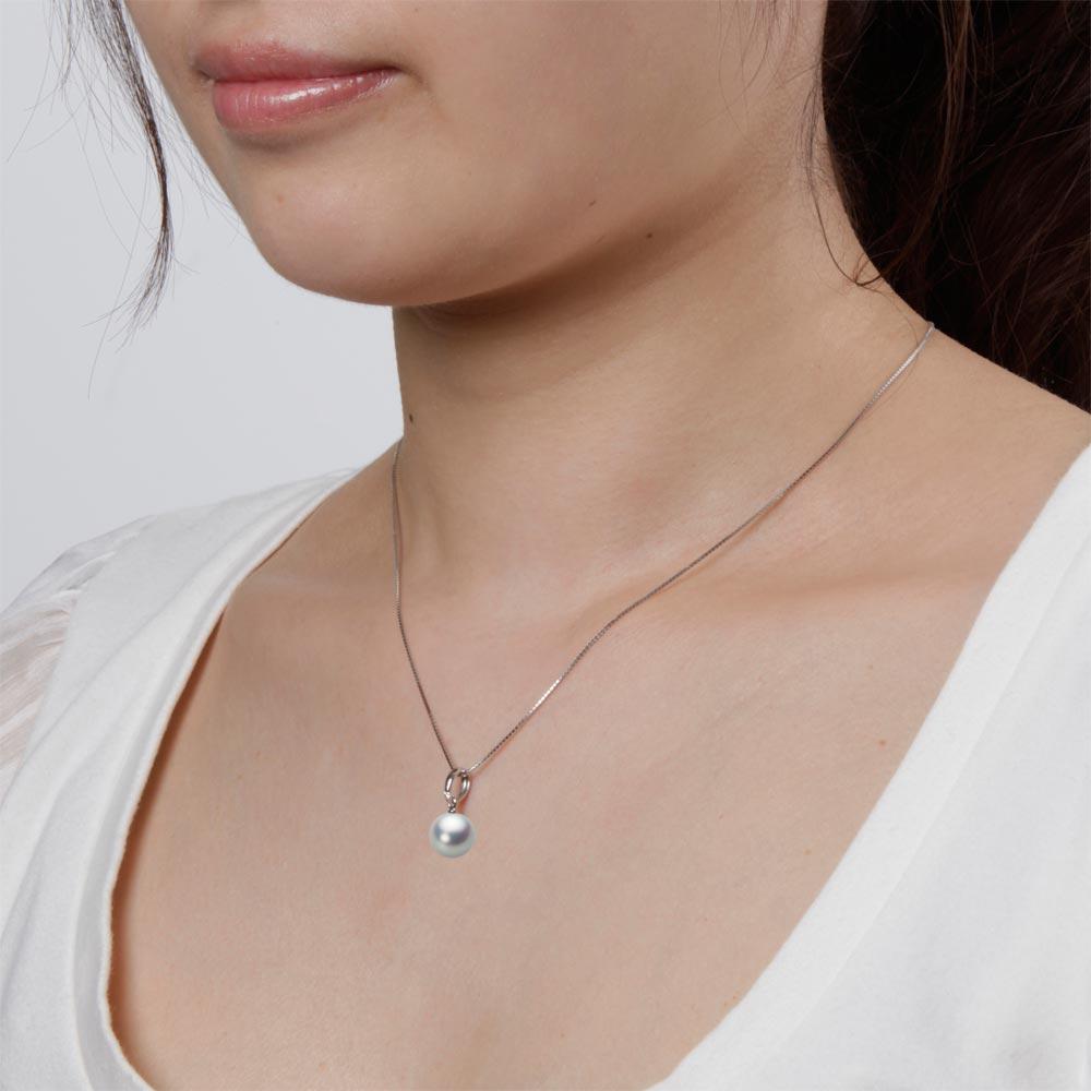 あこや真珠 パール ネックレス 9.0mm アコヤ 真珠 ペンダント K18WG ホワイトゴールド レディース HA00090R11SG01500W
