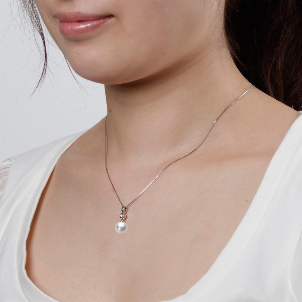 あこや真珠 パール ネックレス 9.0mm アコヤ 真珠 ペンダント K18WG ホワイトゴールド レディース HA00090R13WPG725W0