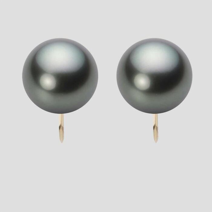 パール イヤリング 12mm 黒蝶 真珠 イヤリング K18 イエローゴールド レディース NB00012R23DG0Y06Y0