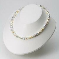 7.5mmアコヤ真珠マルチカラーパールネックレス(左右対称カラー)