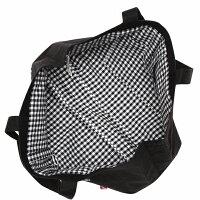 お稽古通園通学習い事レッスン音符刺繍ロゴリボン付きチェック柄切り替えトートバッグ