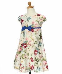 フォーマル発表会結婚式食事会お出かけ着日本製綿100%花柄リボン付きAライン