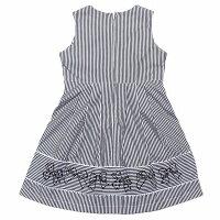 普段着通学着お出かけ着綿100%ストライプ柄リボン刺繍切り替えAラインギャザー
