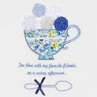 普段着通学着お花モチーフ&ティーカップ刺繍フリル袖