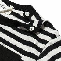 ベビーサイズ普段着通園着綿100%ボーダー柄クマ刺繍ポケット付き