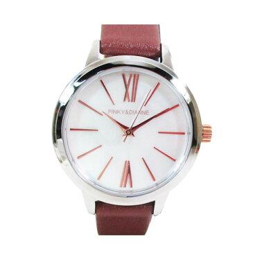 ピンキー&ダイアン 腕時計 革ベルト ブラウン レディース 婦人 PD104SWHBR/1213