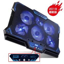 【送料無料】KEYNICE冷却ファンノートパソコン冷却パッド冷却台LED搭載超静音USBポート2口USB接続風量調節可高度調節可17インチ型まで対応6ファン(ブルー)