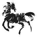 【新品】 【送料無料】 馬 ウマ アート ホース 競馬 9.5cm × 9.5cm 色カスタム可能 ステッカー