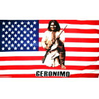 【送料無料】 国旗 ジェロニモ インディアン アパッチ族 ネイティブアメリカン 星条旗 150cm × 90cm 特大 フラッグ 【受注生産】