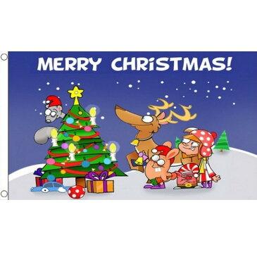 【送料無料】 国旗 メリークリスマス ツリー トナカイ プレゼント 150cm × 90cm 特大 フラッグ 【受注生産】