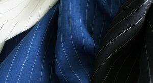 【生地布】★ワイド幅★【リネン】【ストライプ】先染めリネンピンストライプブラウス、シャツ、スカートなどにおすすめ♪
