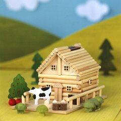 お金を入れると、メロディが流れるログハウス貯金箱♪【夏休み 宿題 工作】田舎ものがたり A82 ...