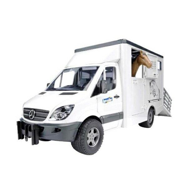 產品詳細資料,日本Yahoo代標|日本代購|日本批發-ibuy99|はたらく車 ミニカー BRUDER ブルーダー MB Sprinter 馬運車(馬フィギュア付き)…