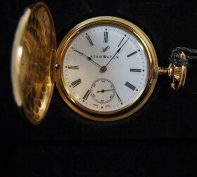 懐中時計の名門アエロウォッチ社(スイス)のノスタルジックシリーズ蒸気機関車蓋付きチェーン付き銀時計(銀メッキ)