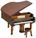 グランドピアノ(茶)18弁オルゴール 木製アンティーク 仕上げサンキョー製(日本)B-526S