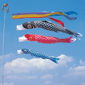 【10%OFFクーポン配布中】【かなめ鯉】【10m】【6点 鯉3匹 】五色吹き流し錦鯉 鯉のぼり 大型セット