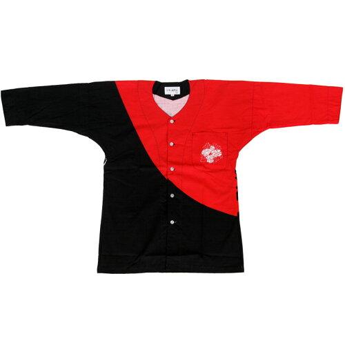 鯉口シャツ 黒/赤 牡丹 M-LL B686