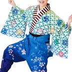 【お祭り用品】【手古舞衣装】袴下着物 白/緑 三つ鱗【お祭用品/祭用品/お祭り】B7718