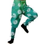【お祭り用品】【手古舞衣装】たっつけ風袴 緑 獅子毛 5号・7号・S-L B7727【お祭用品/祭用品/お祭り】