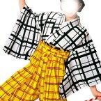 【お祭り用品】【手古舞衣装】袴下着物 白 格子柄【お祭用品/祭用品/お祭り】B8733