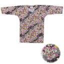 【お祭り用品・衣装】鯉口シャツ 桜吹雪 黒 S-LL D9553